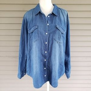 Lane Bryant Denim Style Button Up Shirt Size 18/20